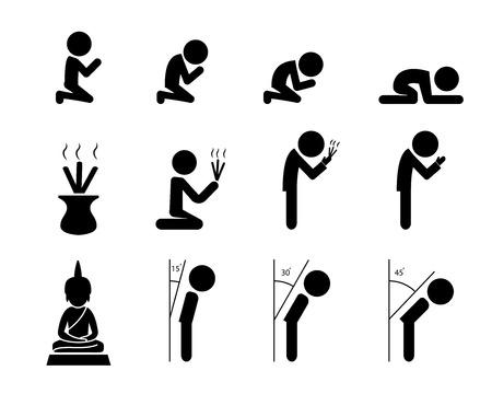 Respect en gebed pictogram in Aziatische stijl, vector design