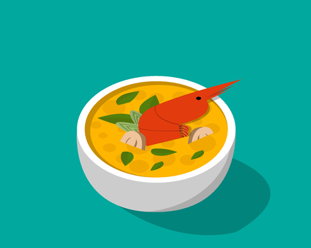 Thai soup with shrimp - Tom yum Kung in 3D vector design Illustration