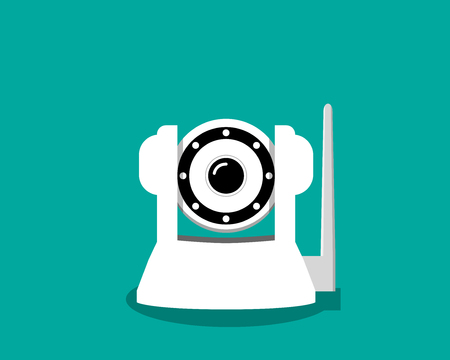 White IP camera in flat style, vector design
