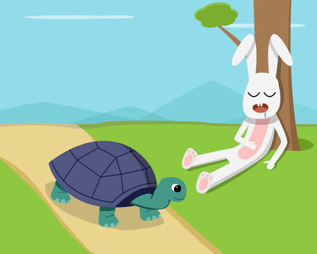 Rabbit sleep under tree while tortoise run on road, vector