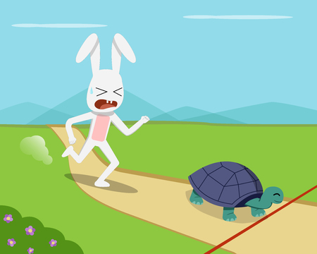 Rabbit and tortoise go to finish line, vector design
