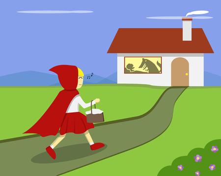 Rotkäppchen gehen zu Großmutters Haus, Stock-Vektor Standard-Bild - 88046461