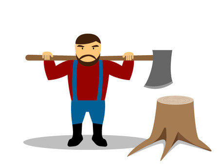 Huge lumberjack and stump in flat style, vector design