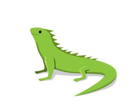 Vriendschappelijke groene leguaan in vlakke stijl, vectorontwerp