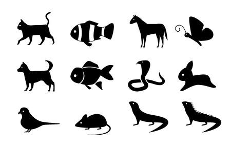Insieme delle icone animali nello stile della siluetta, progettazione di vettore Archivio Fotografico - 88046483
