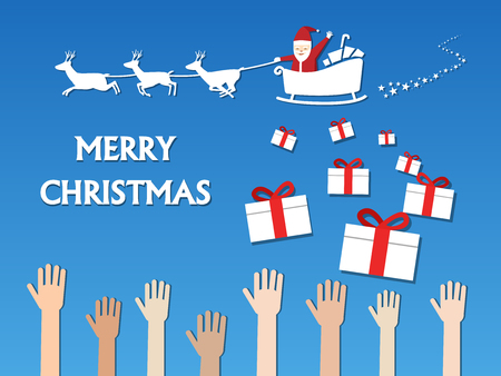 Santa claus give many gifts to children, vector design