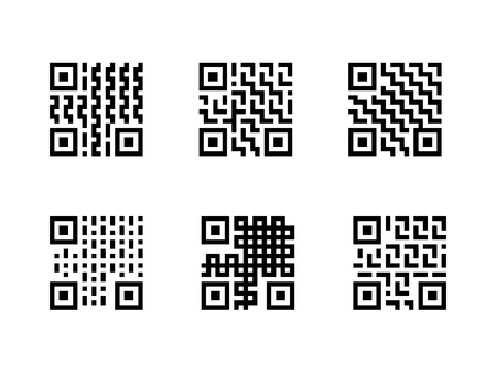 Set of QR Code with pattern, isolated on white background