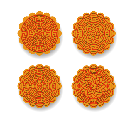 Set of Chinese moon cake on white, Top view vector design Illustration