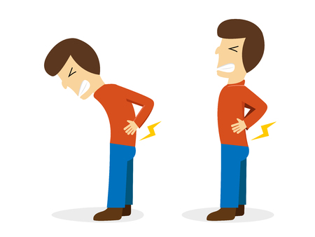 Man get pain from backache on white cartoon vector design