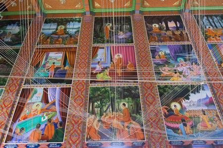 BANGKOK, THAILAND  - OCTOBER 24, 2017 ; Buddha historical art in temple hall at Wat Lat Pla Khao Editorial