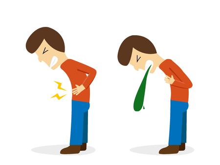 Man get stomachache and vomit, vector cartoon design Illustration