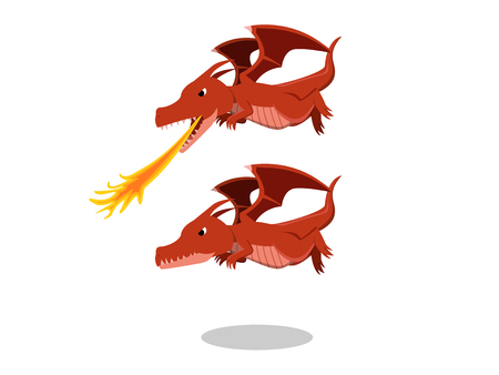 Angry red dragon with fire breath, cartoon vector design
