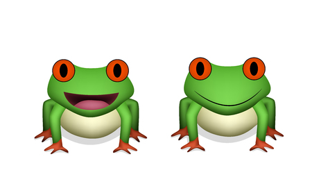 Front view, 3D Red eye frog in vector design
