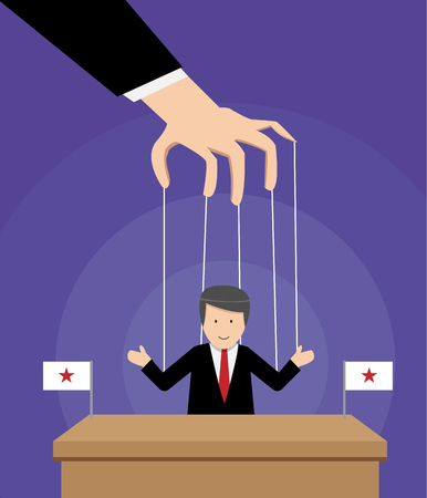 Puppeted president on table with flag in vector design