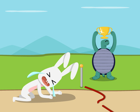 Tortoise win, Rabbit lose at finish line, vector design