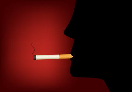 Smoking cigarette and male silhouette, vector design