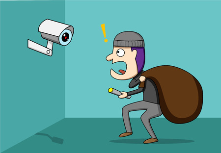Thief shocked while CCTV detected a robber, vector