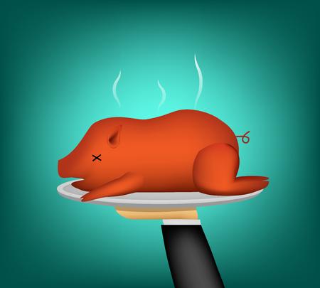3D Barbecued suckling pig on waiter hand, vector design Illustration