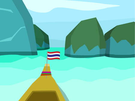 Phi phi island in flat style, vector landscape design