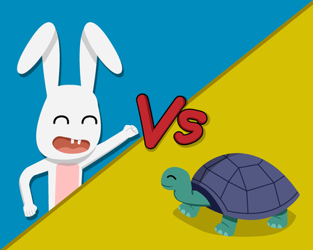 Rabbit versus Tortoise, vector cartoon design 免版税图像 - 92744402