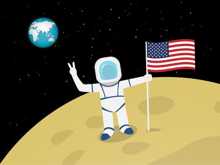 Szczęśliwy astronauta na powierzchni księżyca z flagą USA, projekt wektor