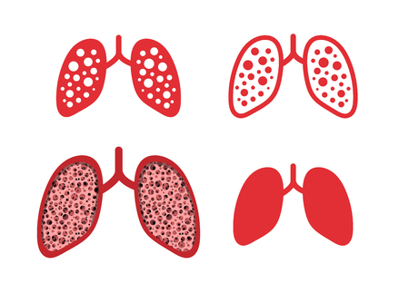 Set of lung cancer icons in vector art design