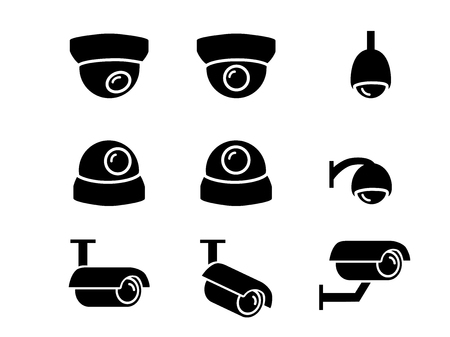 CCTV camera icons and symbol in silhouette vector art