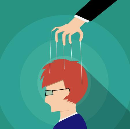 Progettazione di arte di vettore di mente dell'adulto di controllo dell'uomo d'affari