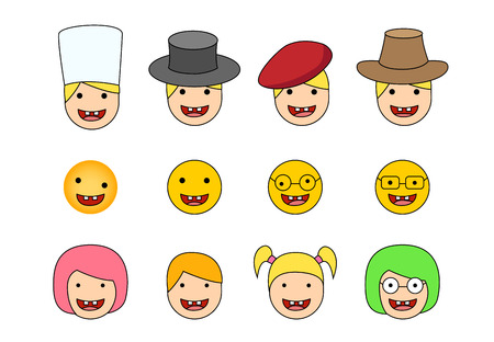 Set of Down syndrome kid icon in flat style vector 矢量图像