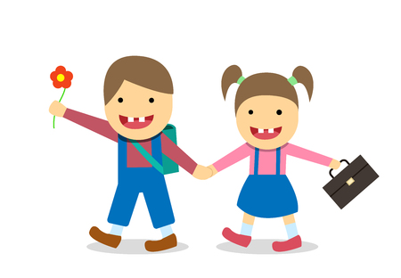 Down syndrome boy and girl go to school vector design Vettoriali