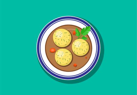 Draufsicht, köstliches Matzohballsuppen-Vektordesign Standard-Bild - 94777301