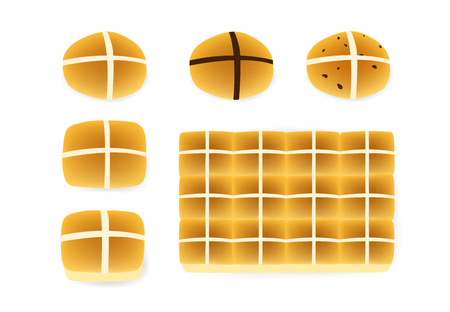Set of Hot cross buns on white, Top view, vector design