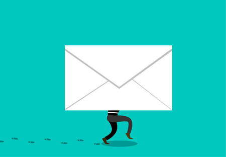 Thief hiding phishing mail to hacking concept illustration.