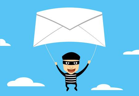 El uso de correo phishing para hackear, dibujos animados de vectores