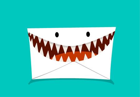 Phishing Mail in monster style, vector design