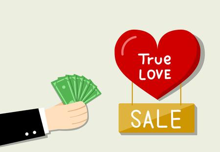 De zakenman wil liefde door zijn geld vectorontwerp kopen