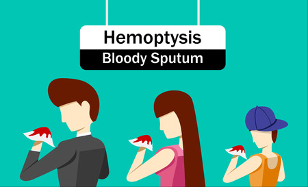 Hemoptysis or Bloody Sputum in cartoon art design illustration.  イラスト・ベクター素材