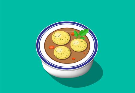 Perspective view, matzoh ball soup, vector. Stock Vector - 95237609