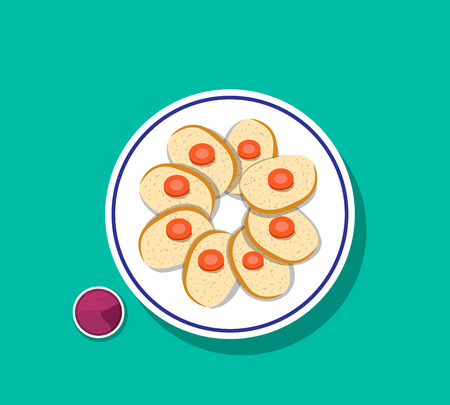 Top view, sliced gefilte fish with carrot on top, vector.
