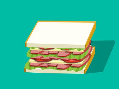 Corn beef sandwich in vector design, perspective view.