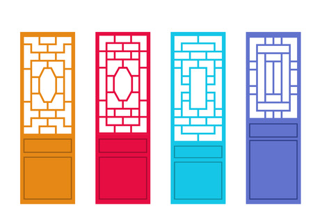 Set of Chinese door in flat style, vector art design