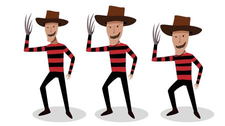Man in Freddy Krueger costume in vector art design