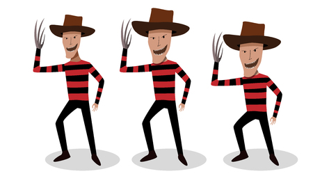 Man in Freddy Krueger costume in vector art design