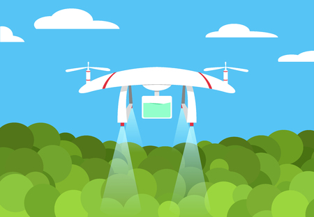 Agriculture Drone flying in the forest vector art design