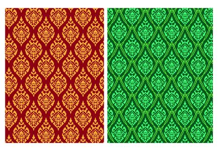 Seamless Thai batik pattern in pixel vector art design  イラスト・ベクター素材