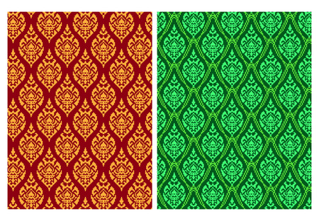 Seamless Thai batik pattern in pixel vector art design Stock Illustratie