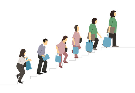 Flat People with bag walked up the stairs, vector design