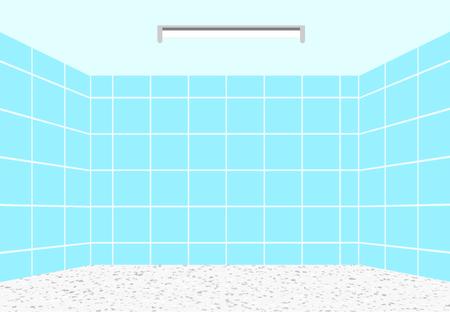 Empty clean bathroom in vector design, perspective view Ilustração
