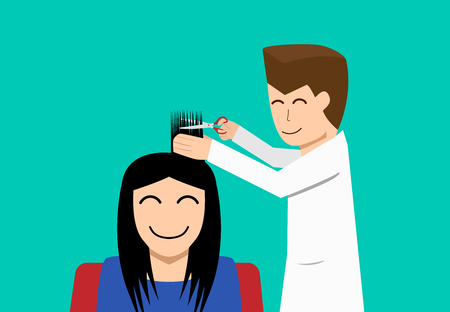 Hairdresser and woman customer in flat vector art design  イラスト・ベクター素材