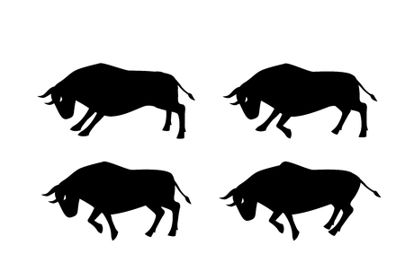 Cow, ox and bull in silhouette art design, side view